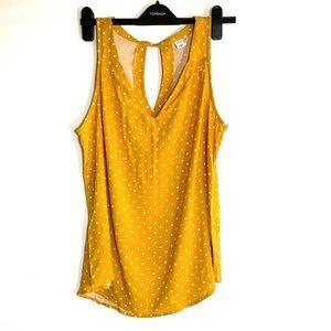 NWOT gold/yellow polka dot tank top